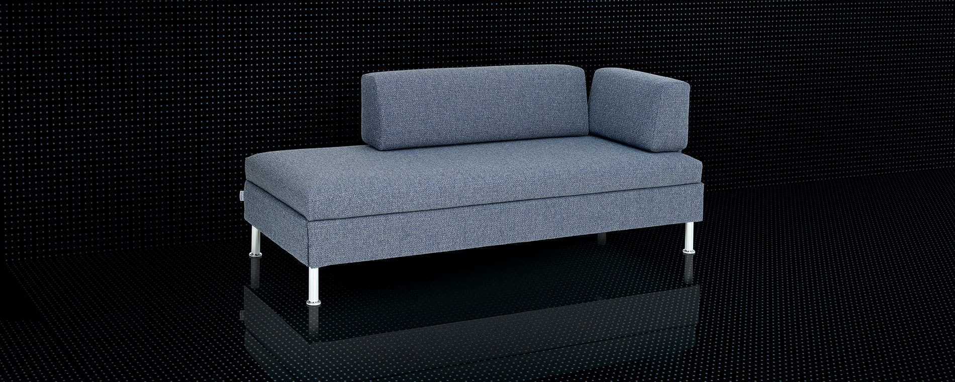 Das Bettsofa BED for LIVING Singolo in blau mit Säulenfüssen.