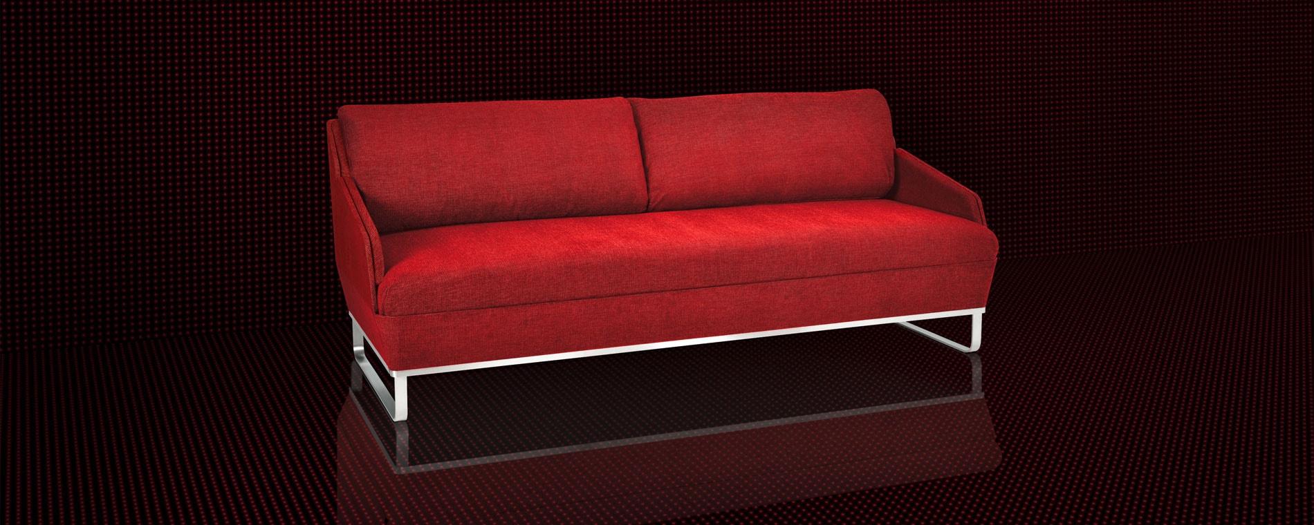 Das elegante Schlafsofa BED for LIVING Deluxe in rot auf schwarzem Hintergrund.