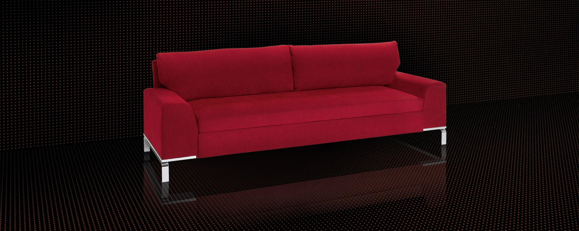 Das grosszügige Schlafsofa BED for LIVING Divan in rot.